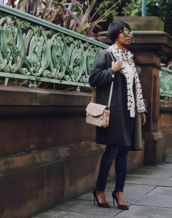 blanket coat leopard heels