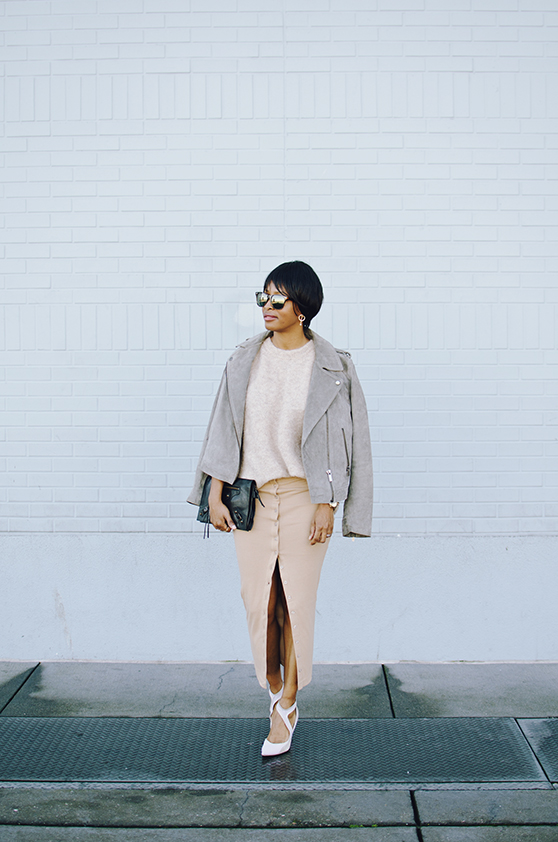 neutral beige look the line by k skirt