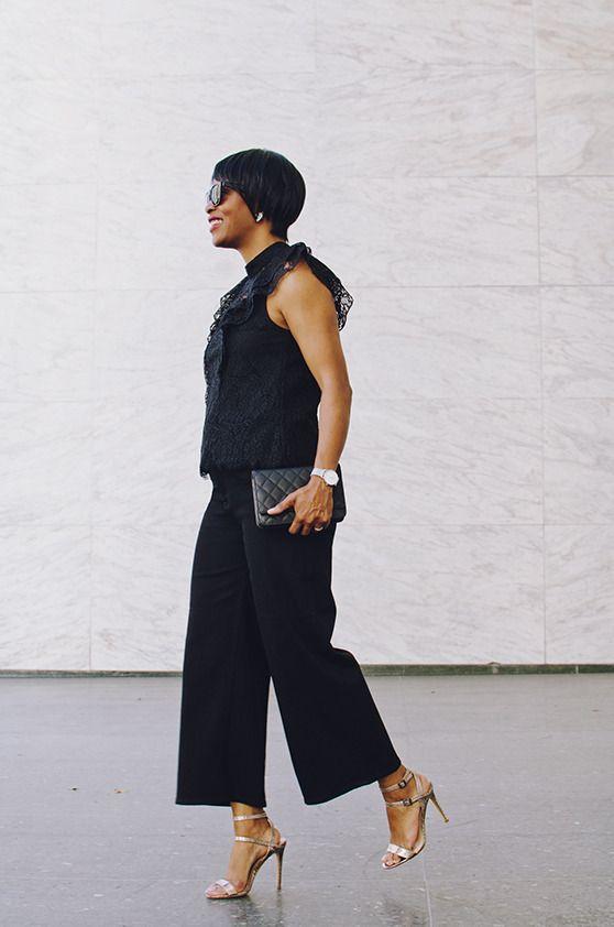 black wide leg jean black lace top