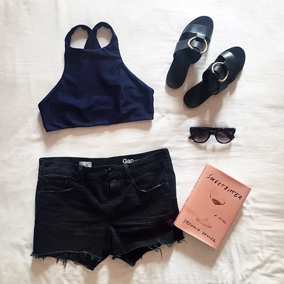 bikyni suit cutoff shorts the goldfinch flatlay