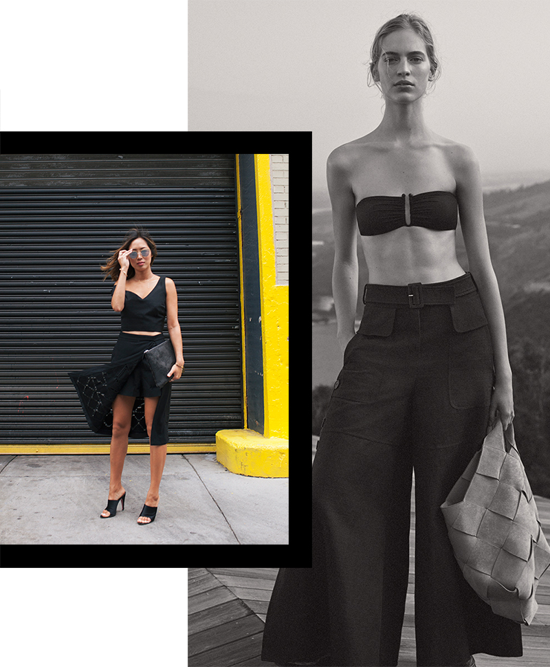 black summer looks wide leg pant