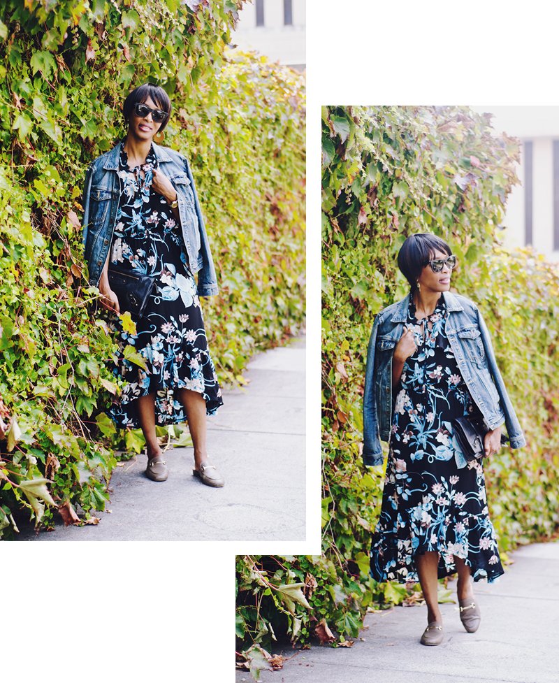 floral dress denim jacket ivy wall