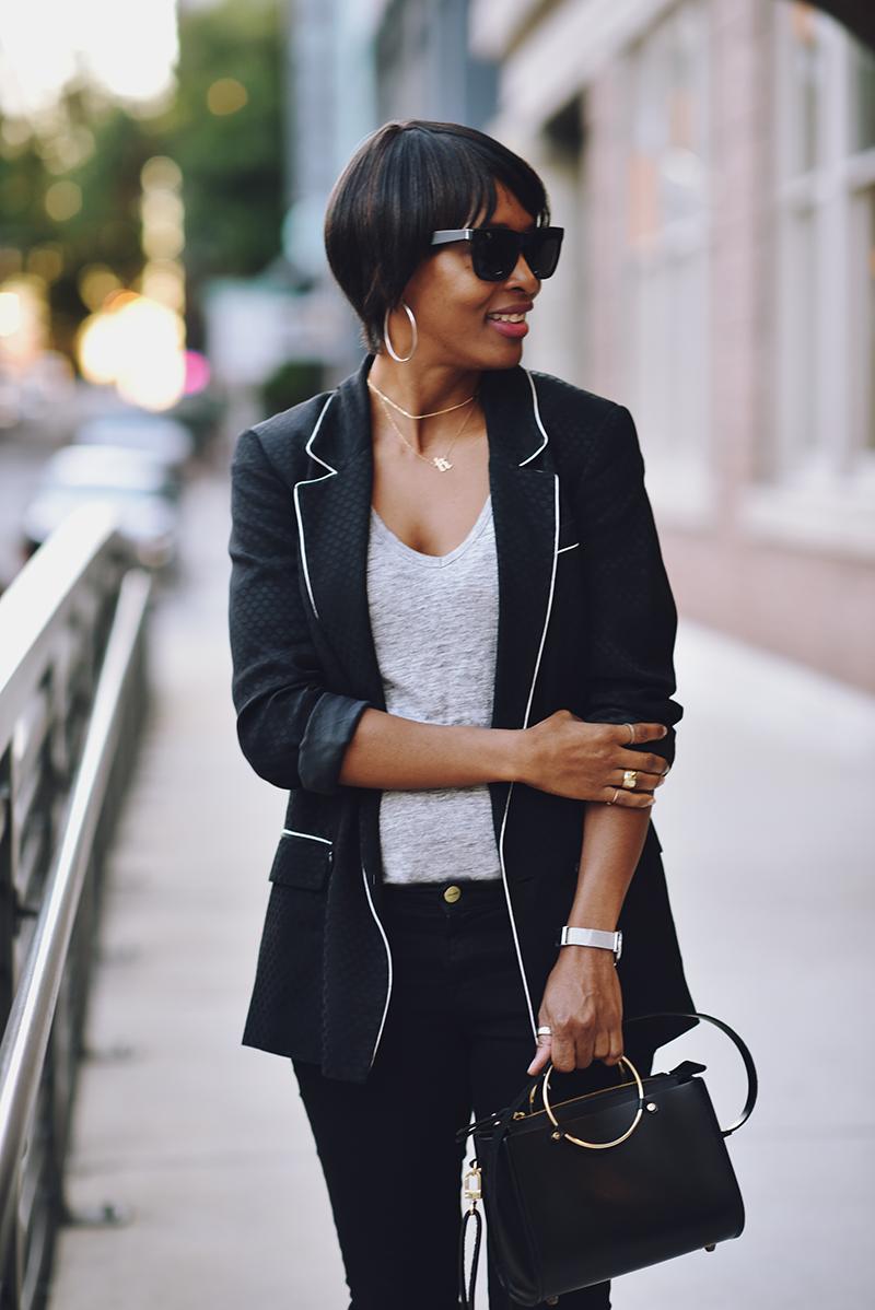 black polka dot blazer ring handle bag