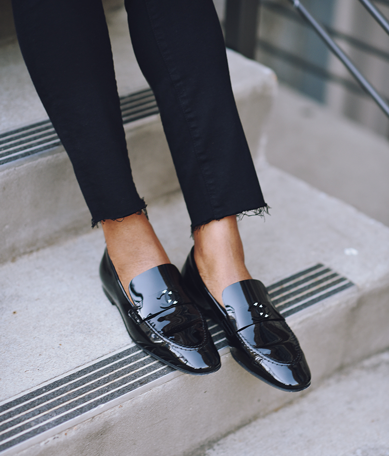black frayed hem denim black patent loafers