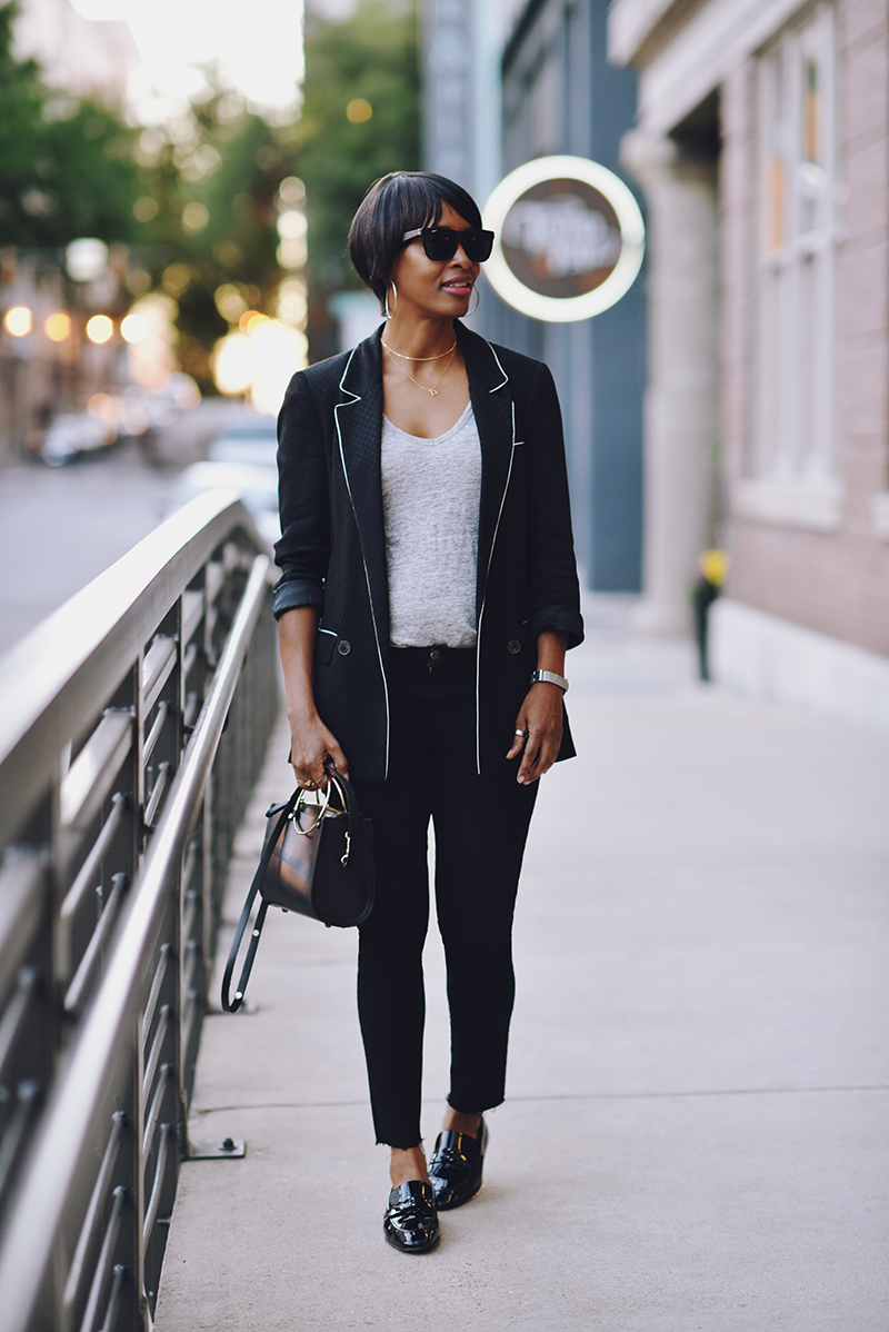 black casual suiting look