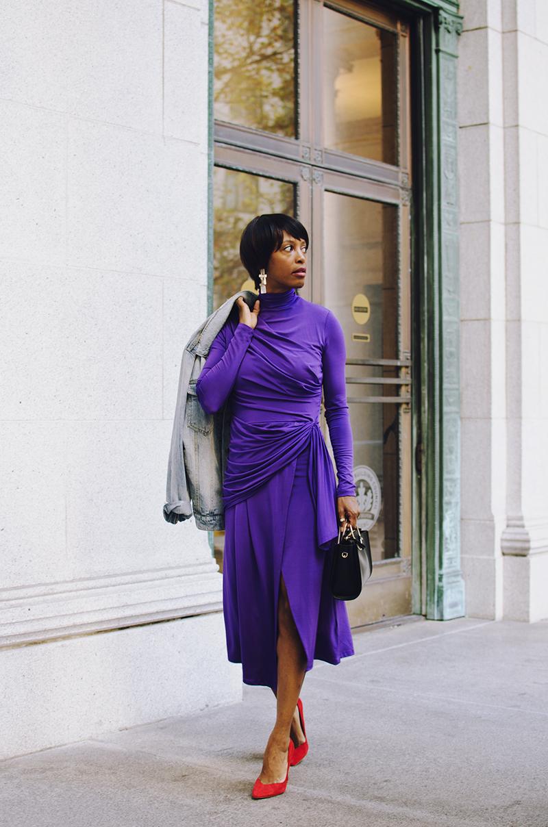 purple ruched midi dress red heels
