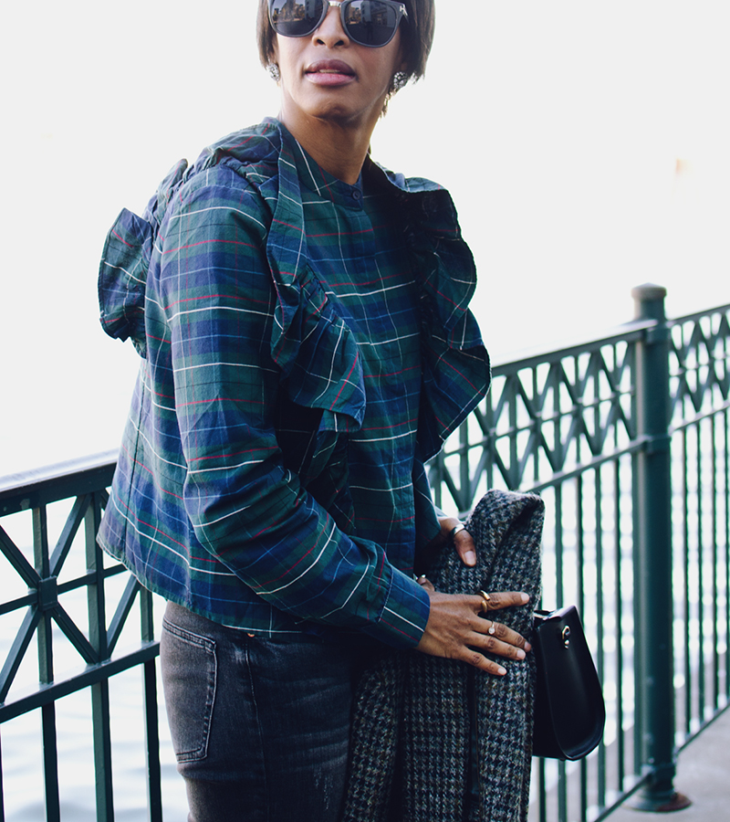 blue green red plaid cropped shirt