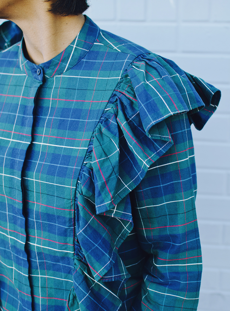 plaid ruffle shirt blue green red