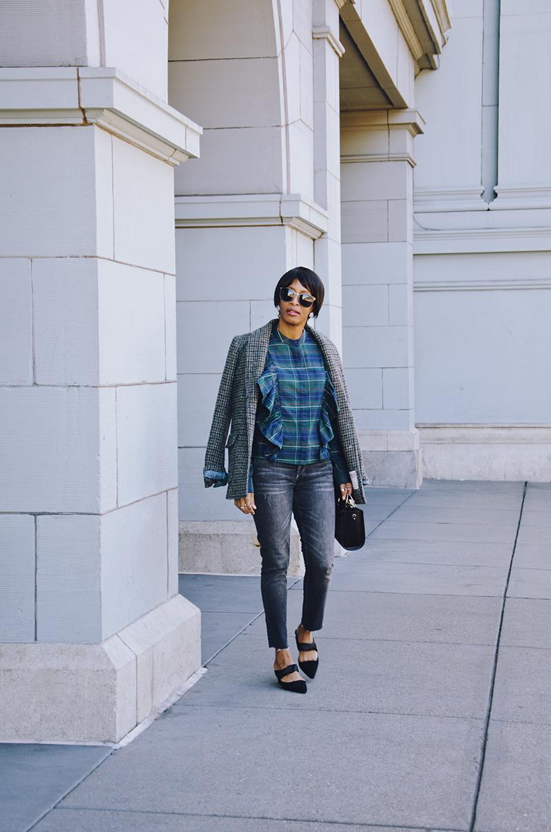 gray straight leg jeans plaid shirt