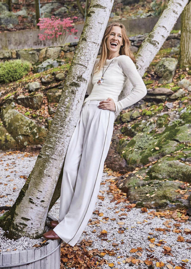 white sweater white pant pastel trend 2018 editoral