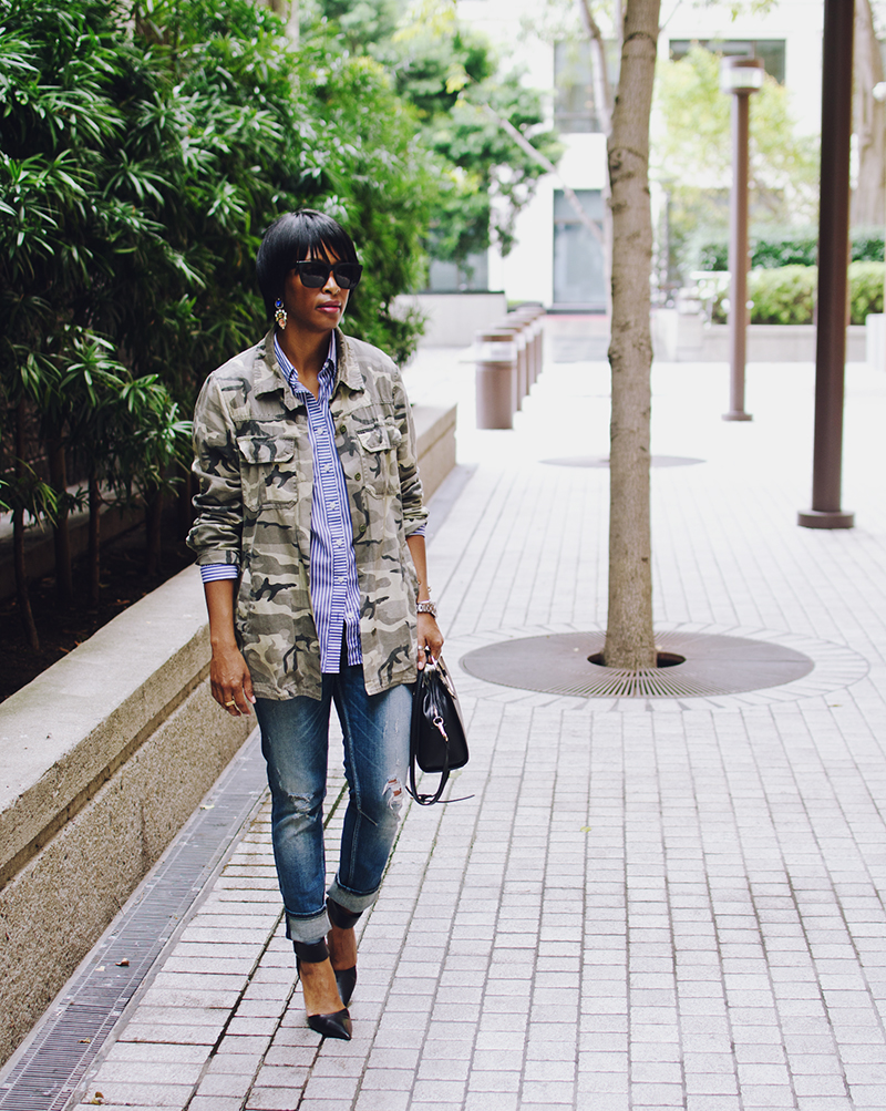 distressed jean black heels blue striped shirt