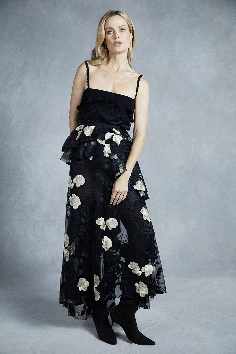 brock collection pre fall 2018 black floral dress