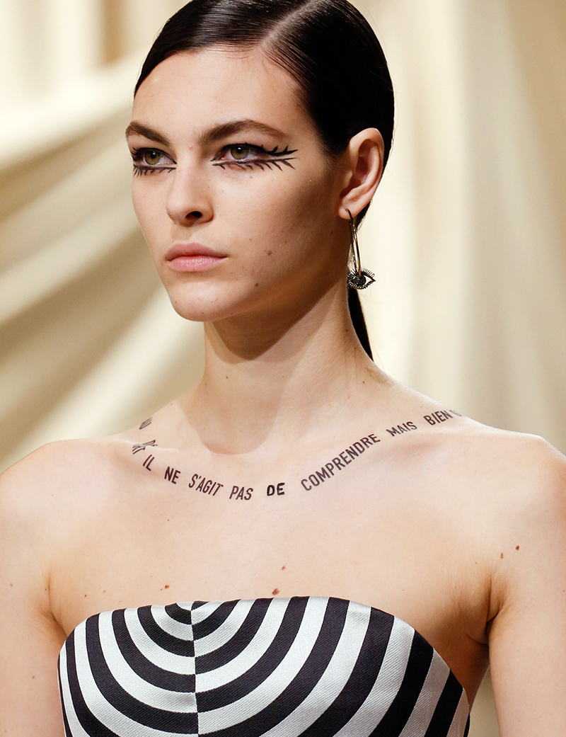 dior haute couture spring 2018 french tattoo typography