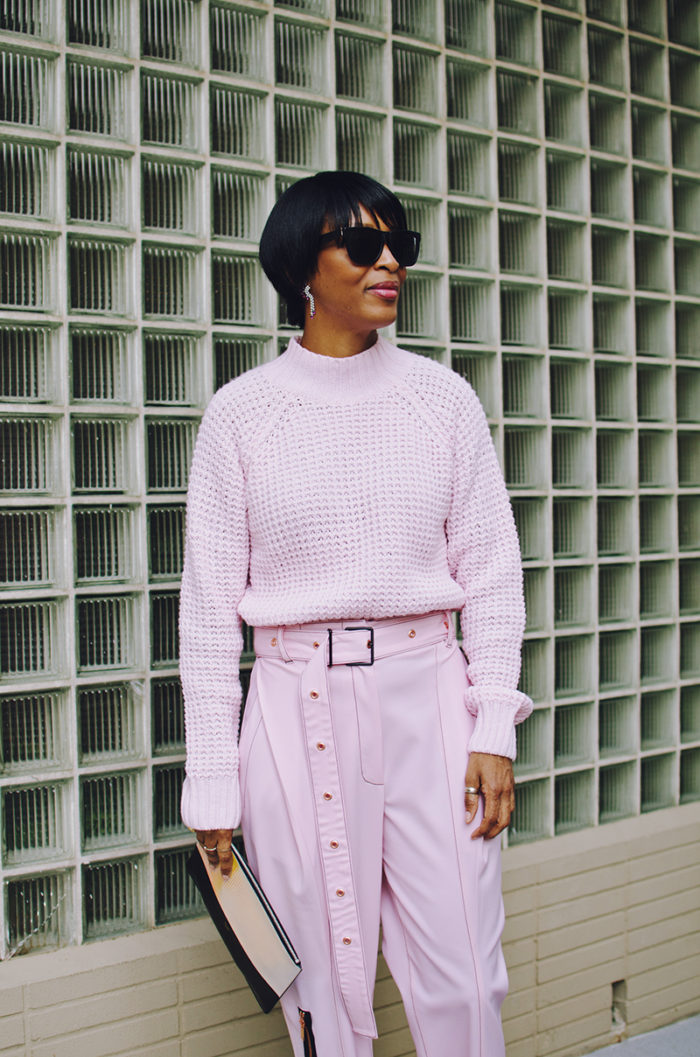 pink textured high neck sweater