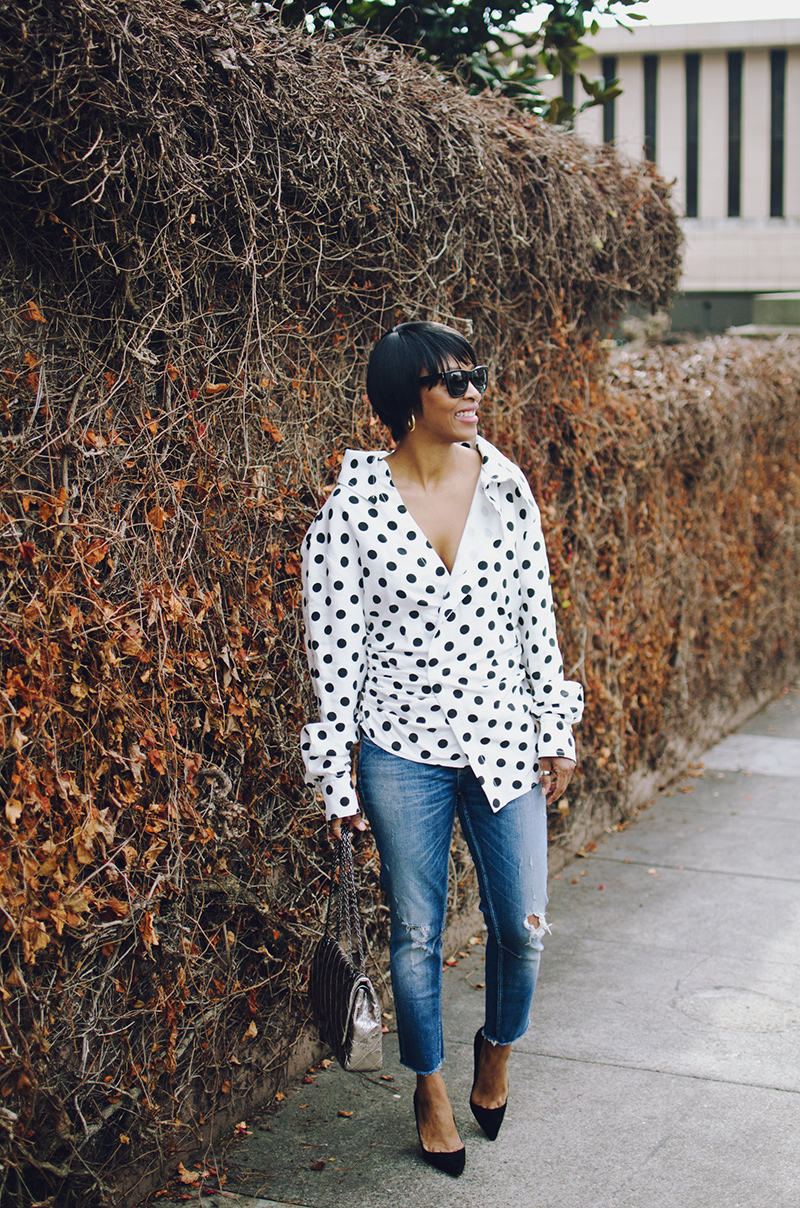 dotted shirt black suede pumps