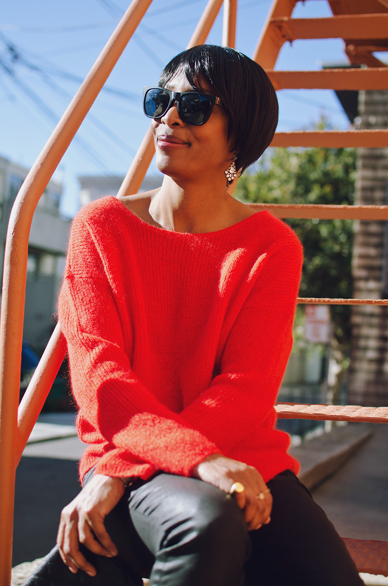 black sunglasses sezane red sweater