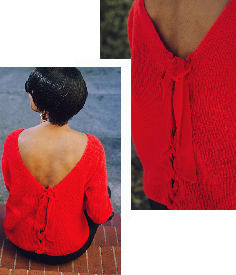 red front to back lace up sweater