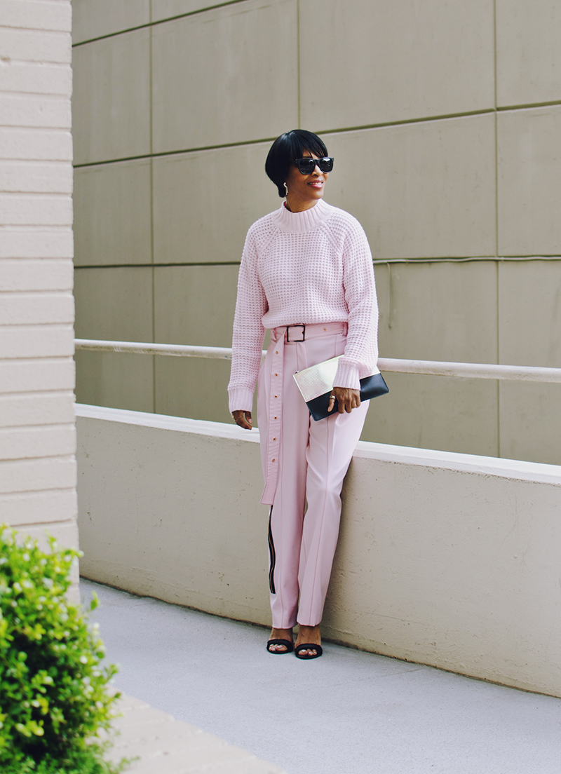 pink on pink outfit black sandal