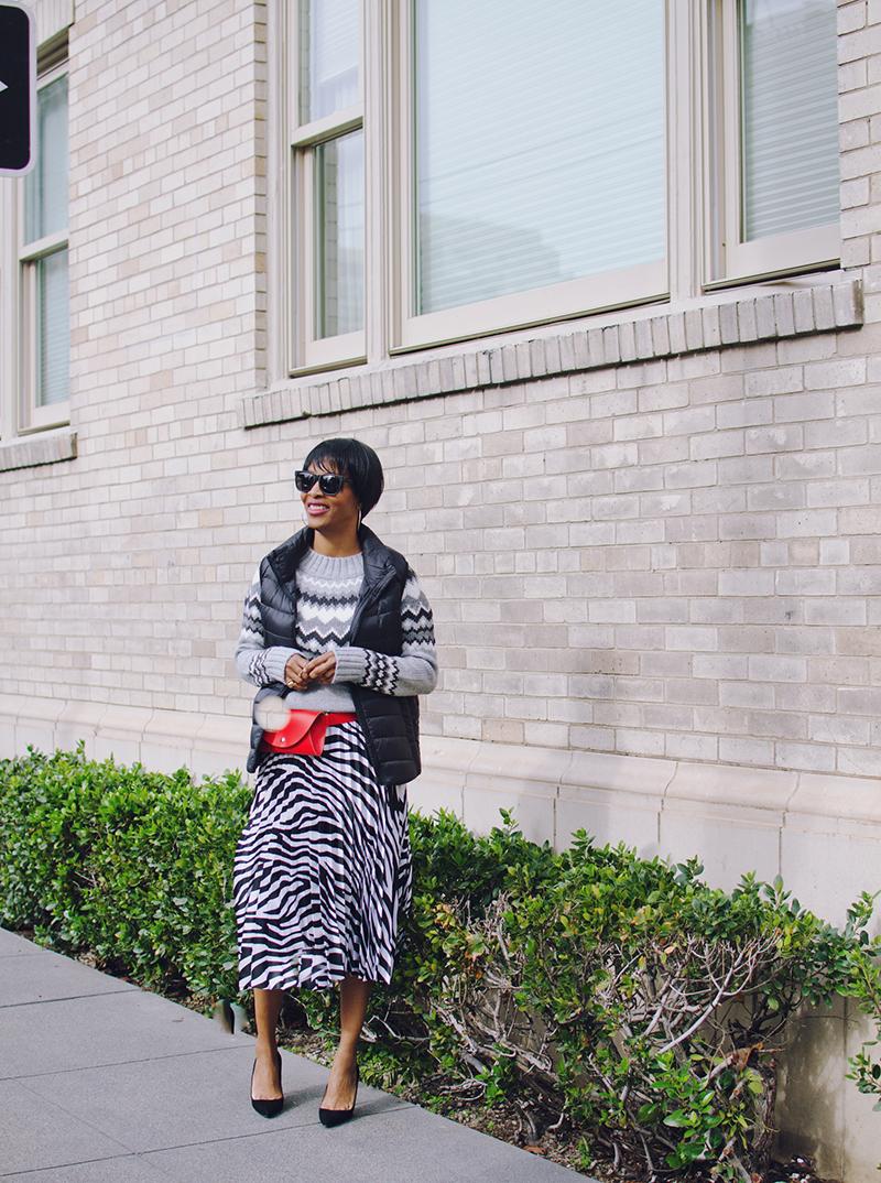 black pumps pleated skirt