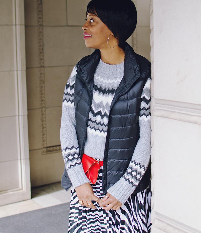 black puffer vest fair isle sweater