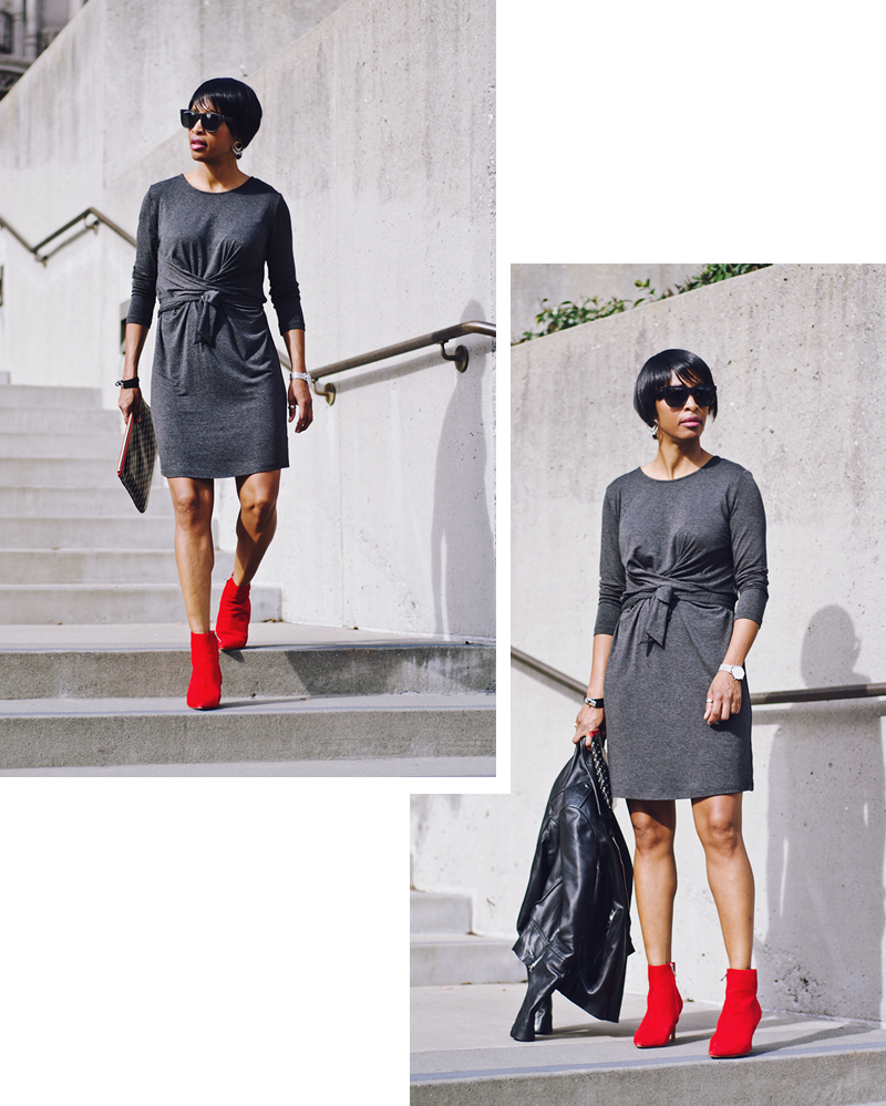 grace cathedral gray tie front dress