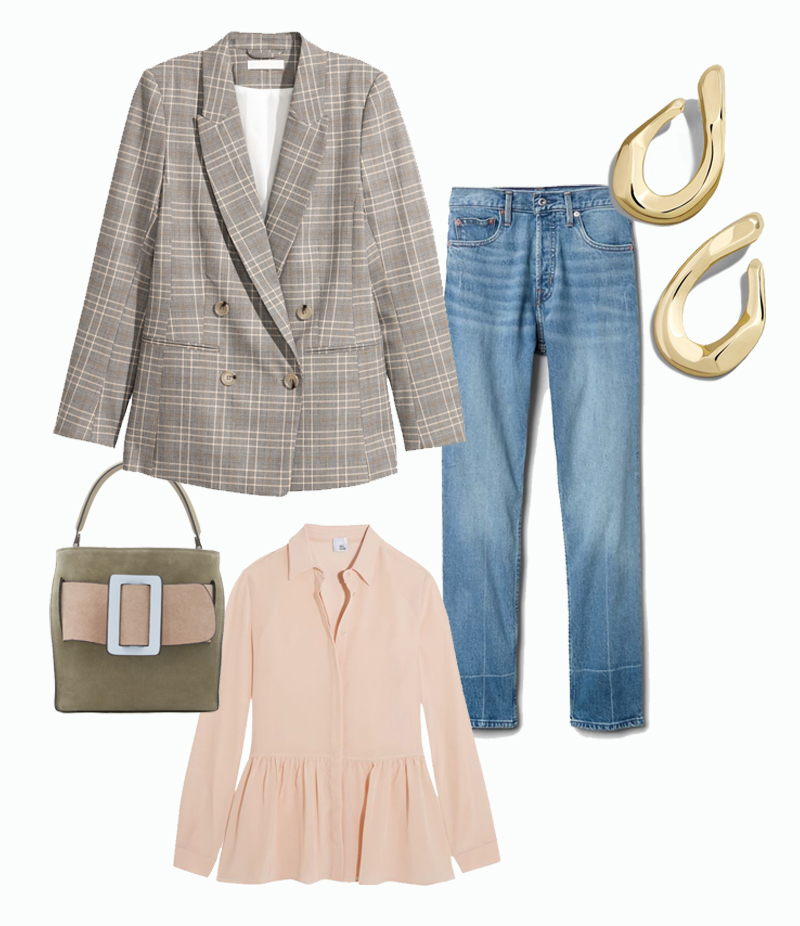 plaid blazer straight leg jeans buckle suede bag