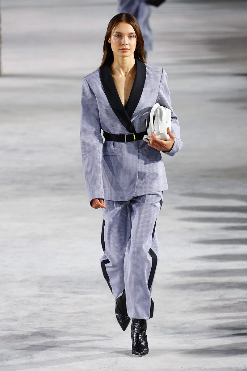 tibi fall 2018 plaid suit belted blazer