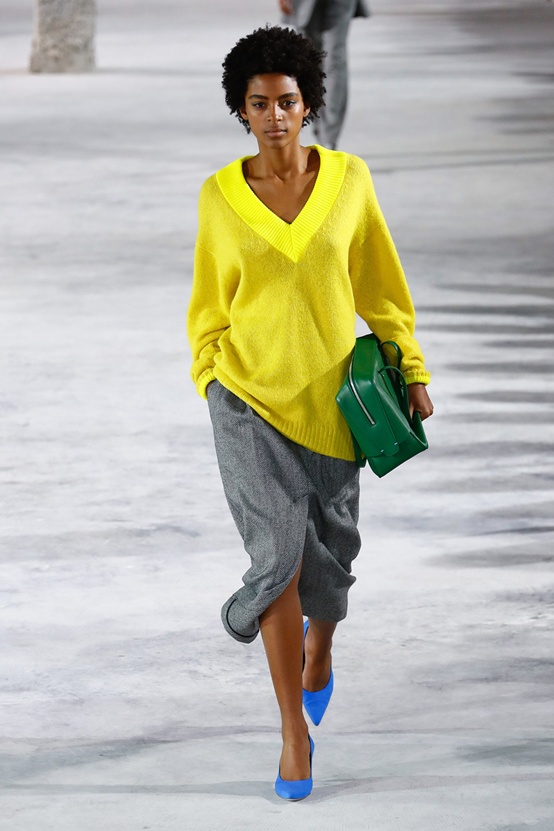 tibi fall 2018 pop of color yellow green