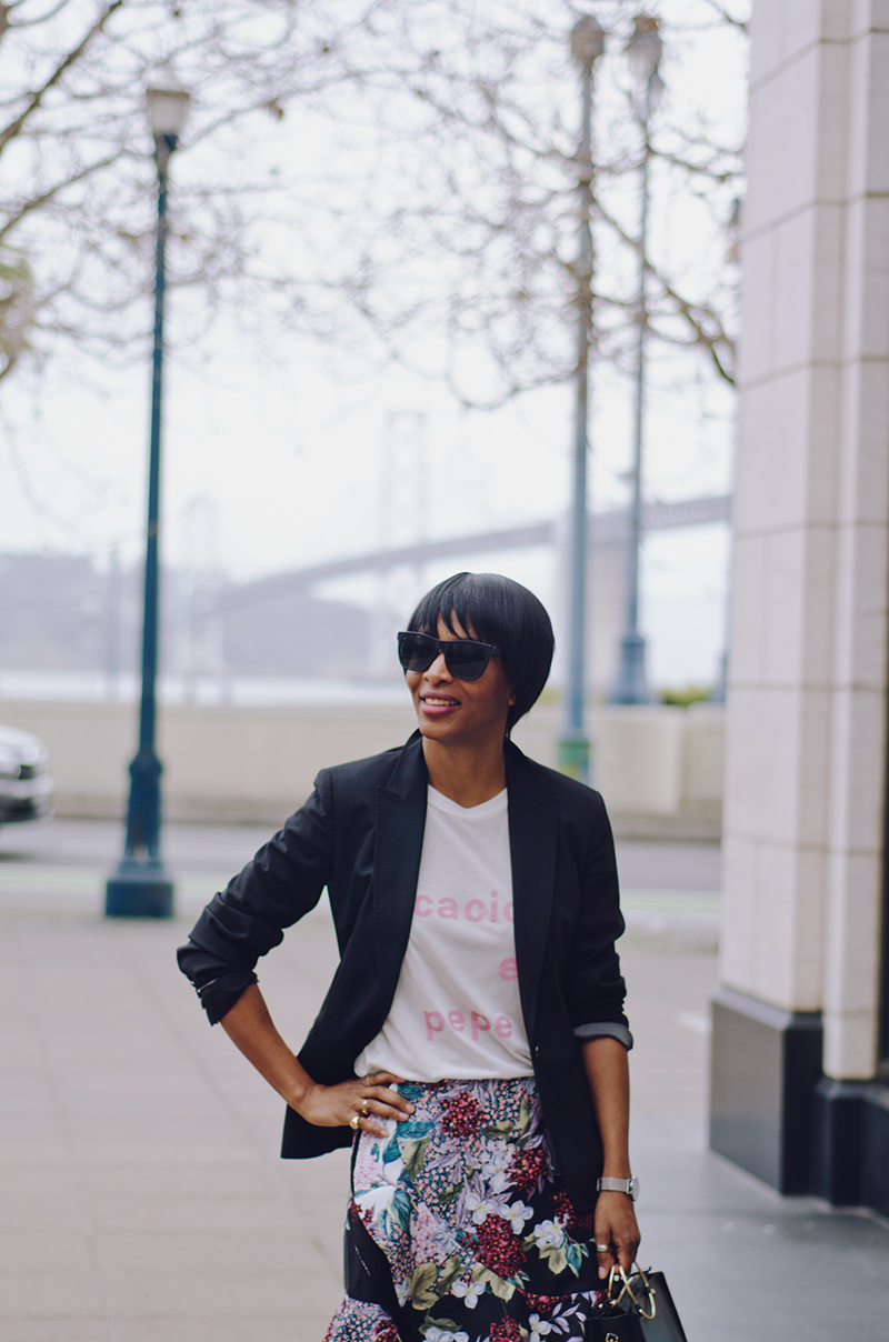 j'adore couture black blazer graphic t-shirt