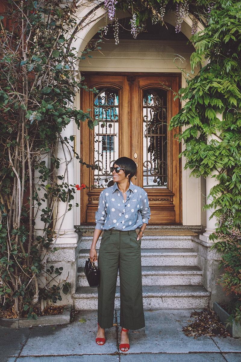 chambray polka dot shirt olive culottes