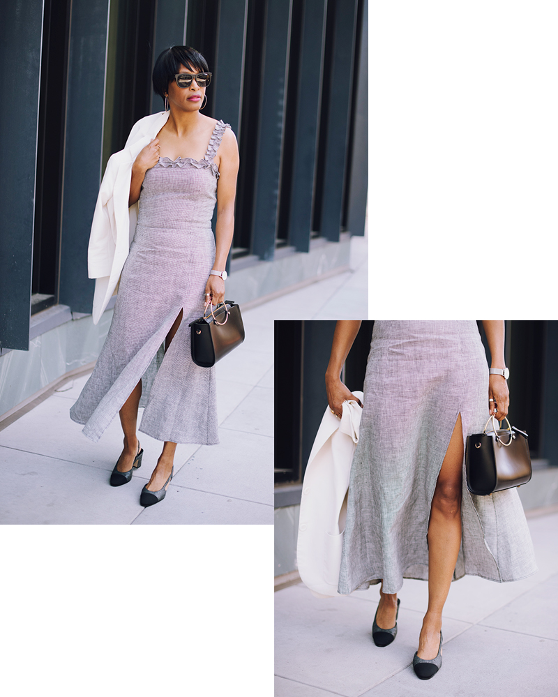 linen gingham maxi dress chanel two tone slingbacks