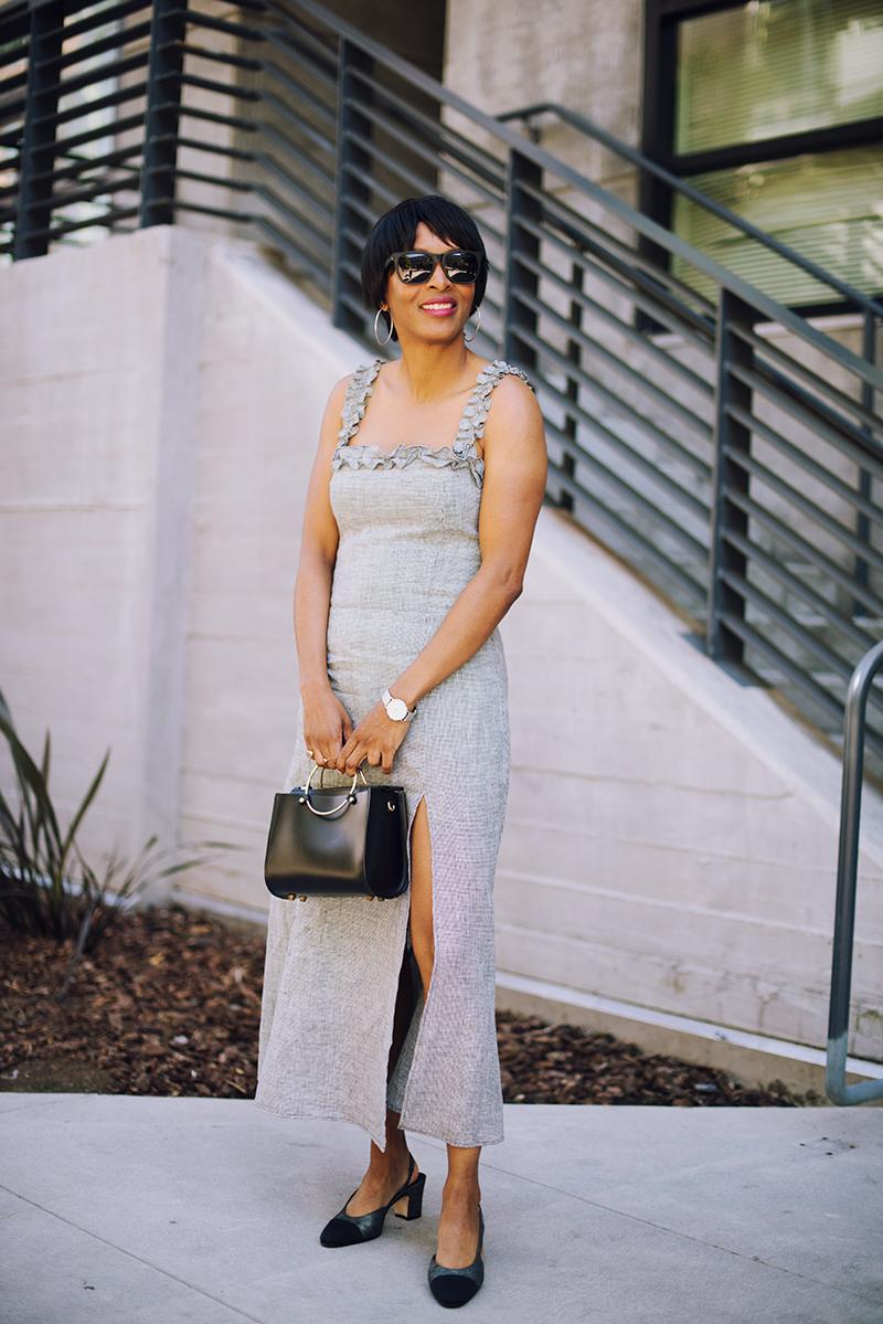 linen gingham maxi dress slit