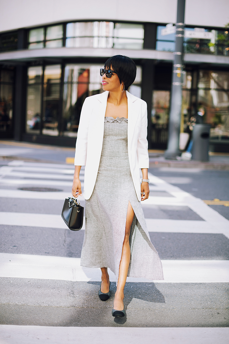 reformation dress white blazer