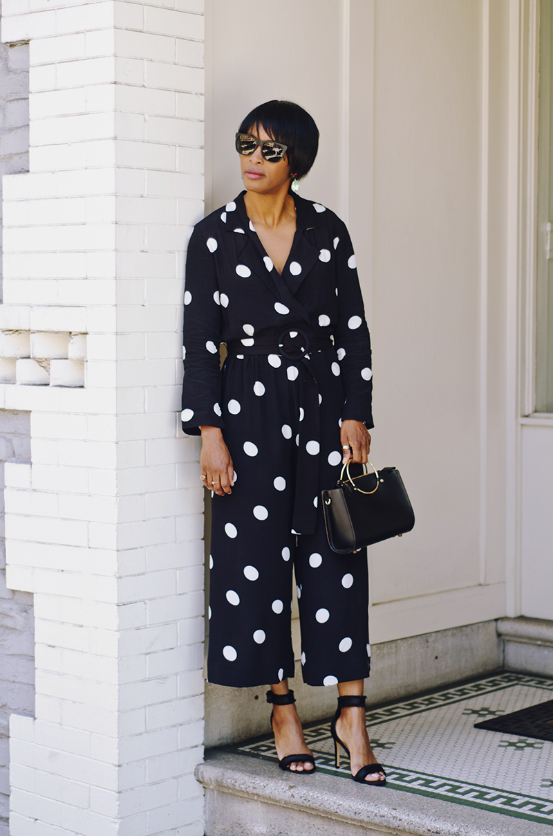 mango belted polka dot jumpsuit ring handle bag