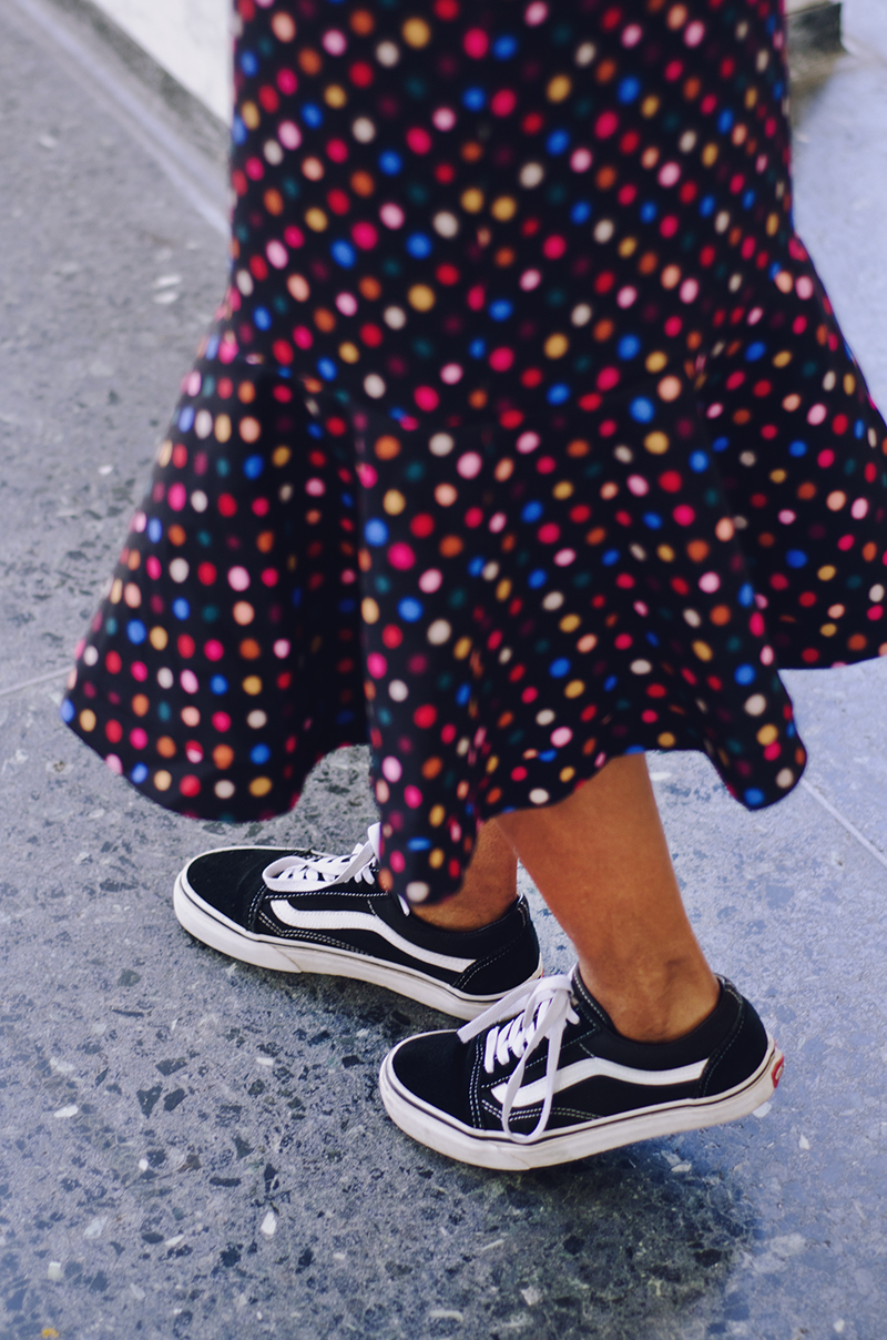 multicolor dotted peplum skirt vans old school sneakers