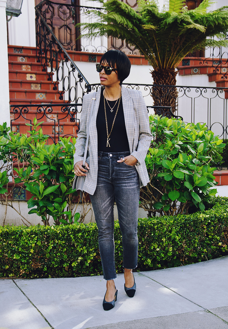 plaid blazer t-shirt bodysuit cap toe chanel slingbacks