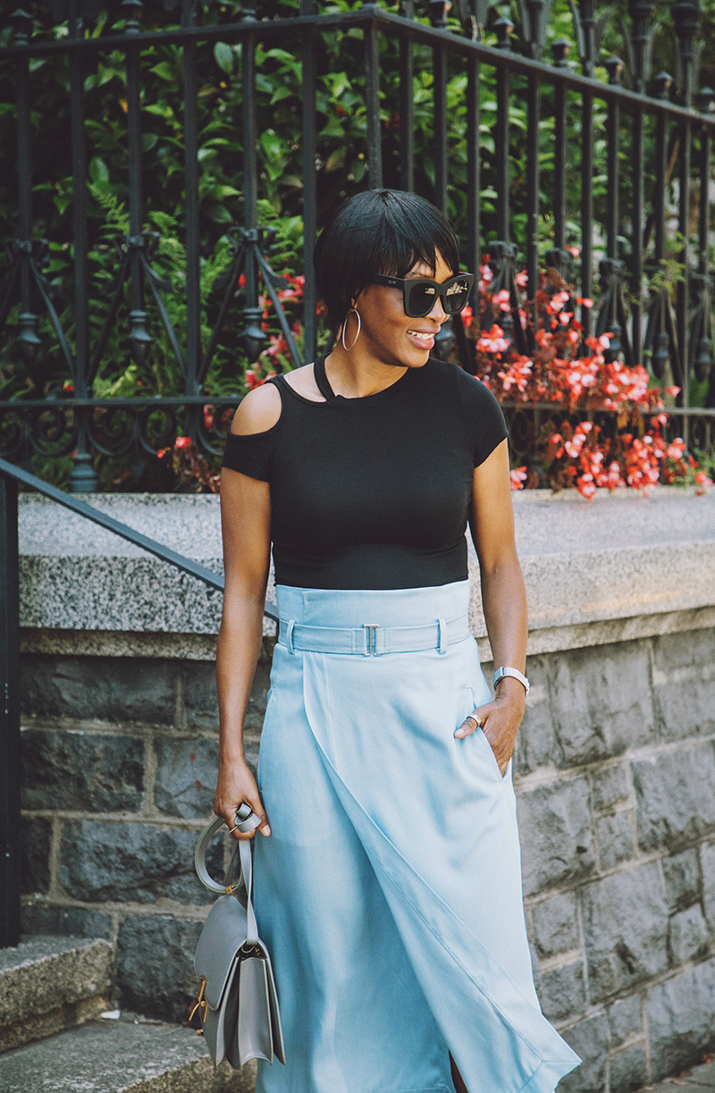 cut out shoulder tee tibi chambray wrap skirt celine box bag