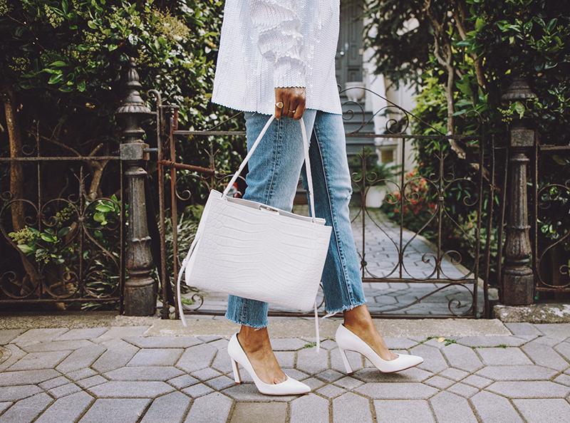 stuart weitzman chicster pump little liffner faux croc handbag