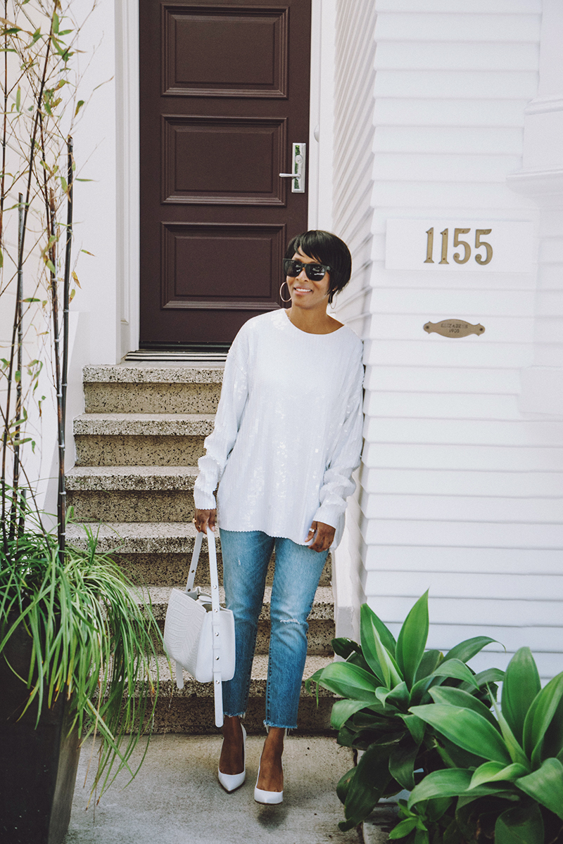 white sequin t-shirt levis 501 skinny jeans