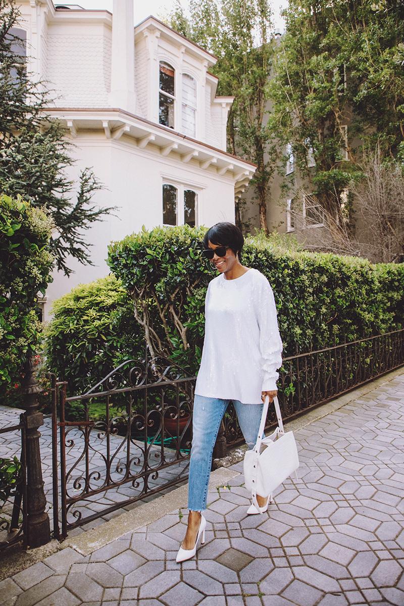 zara white sequin t-shirt white pumps san francisco victorian