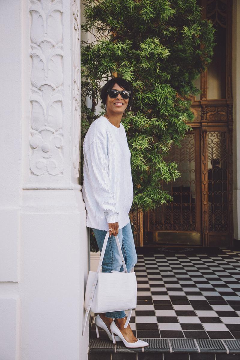 zara white sequin top little liffner faux croc bag black matte sunglasses