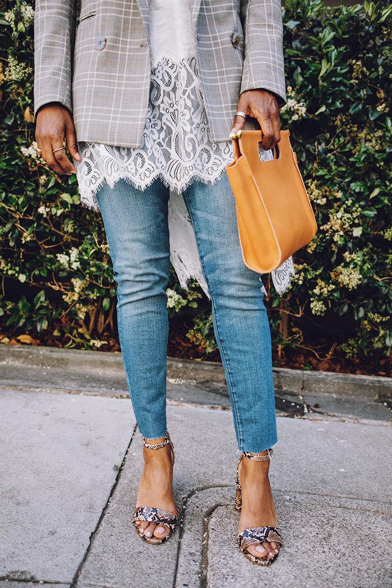 madewell skinny jeans snakeskin block heel sandal
