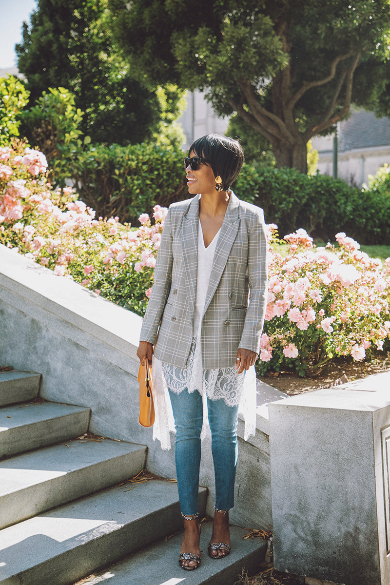plaid double breasted blazer madewell skinny jeans