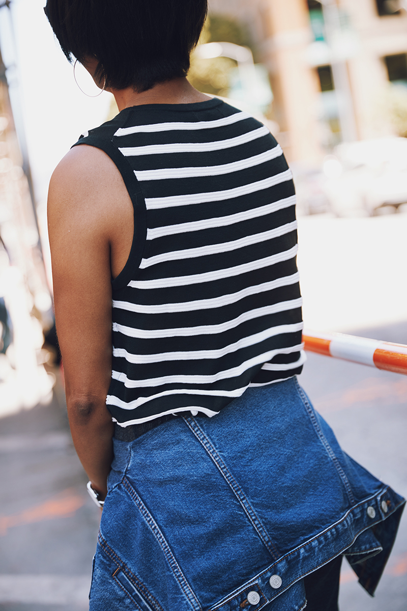 sleeveless striped sweater denim jacket