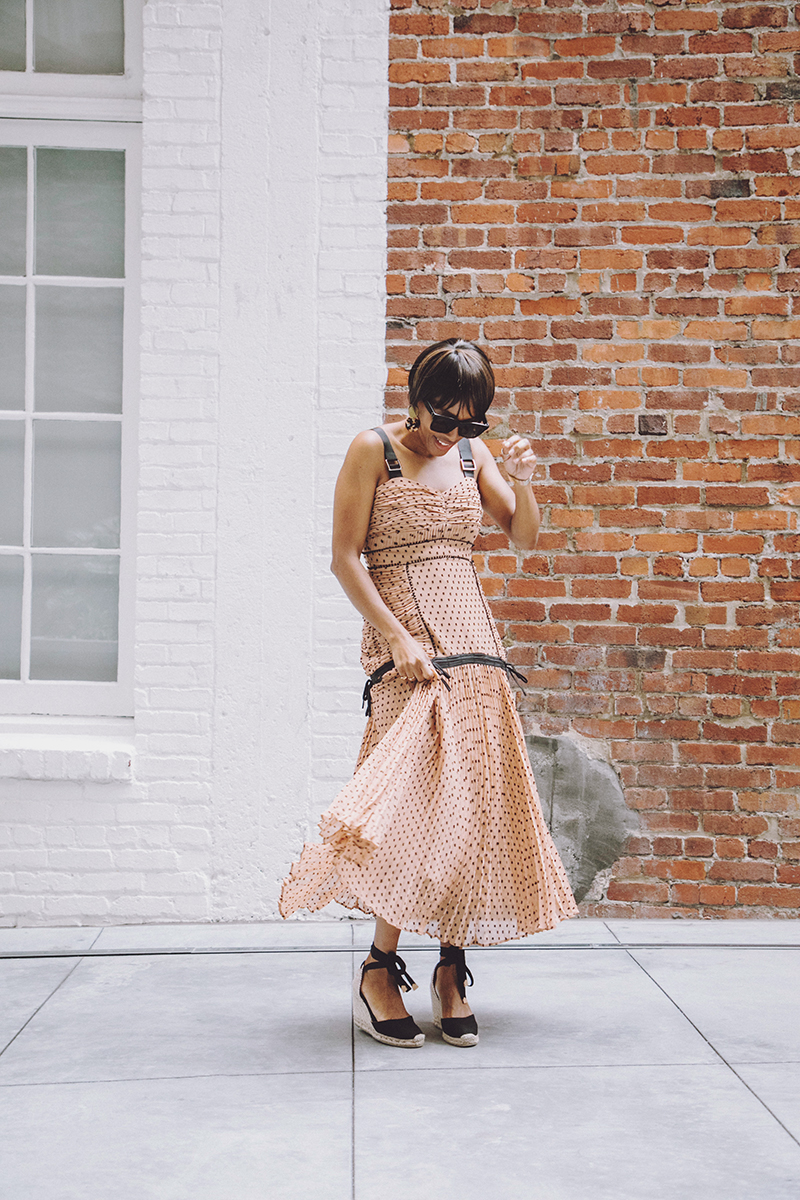 brown self portrait dotted maxi dress black espadrilles