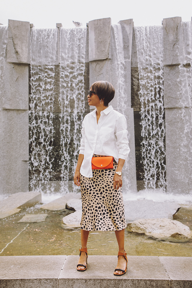 relisation par silk leopard print skirt red belt bag