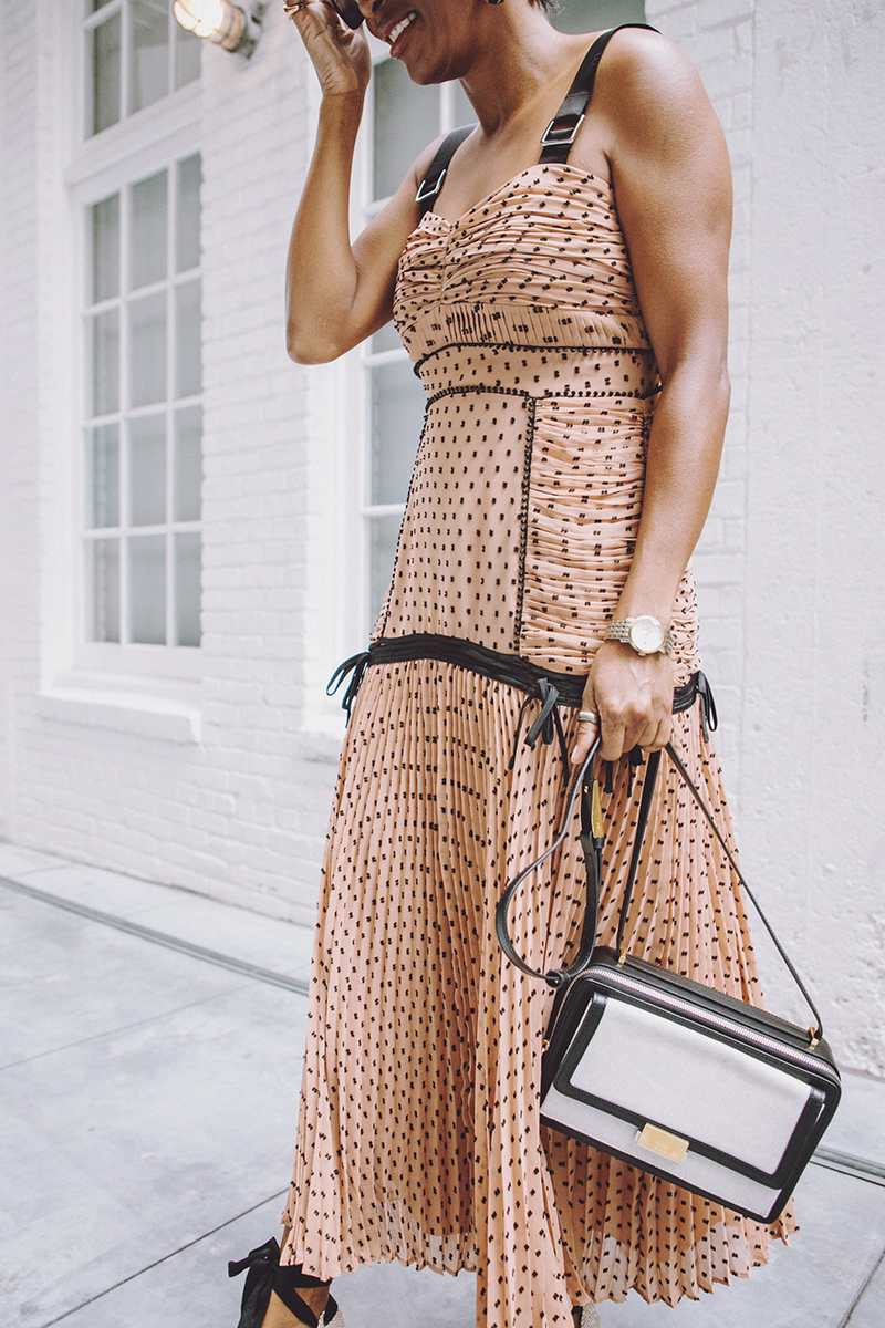 self portrait pleated dress linen and leather bag
