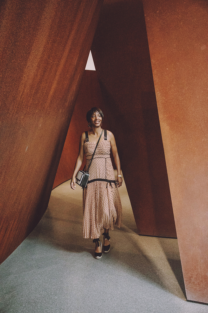 sf moma richard serra sequence pleated maxi dress
