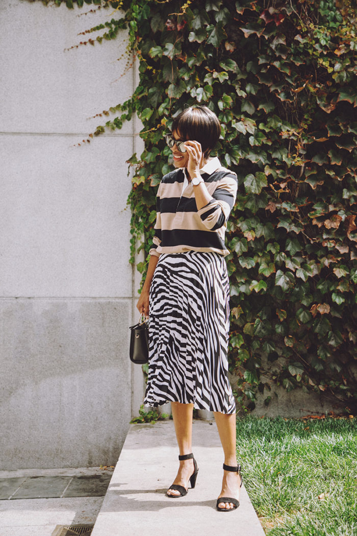 jadore couture striped rugby zebra print pleated skirt
