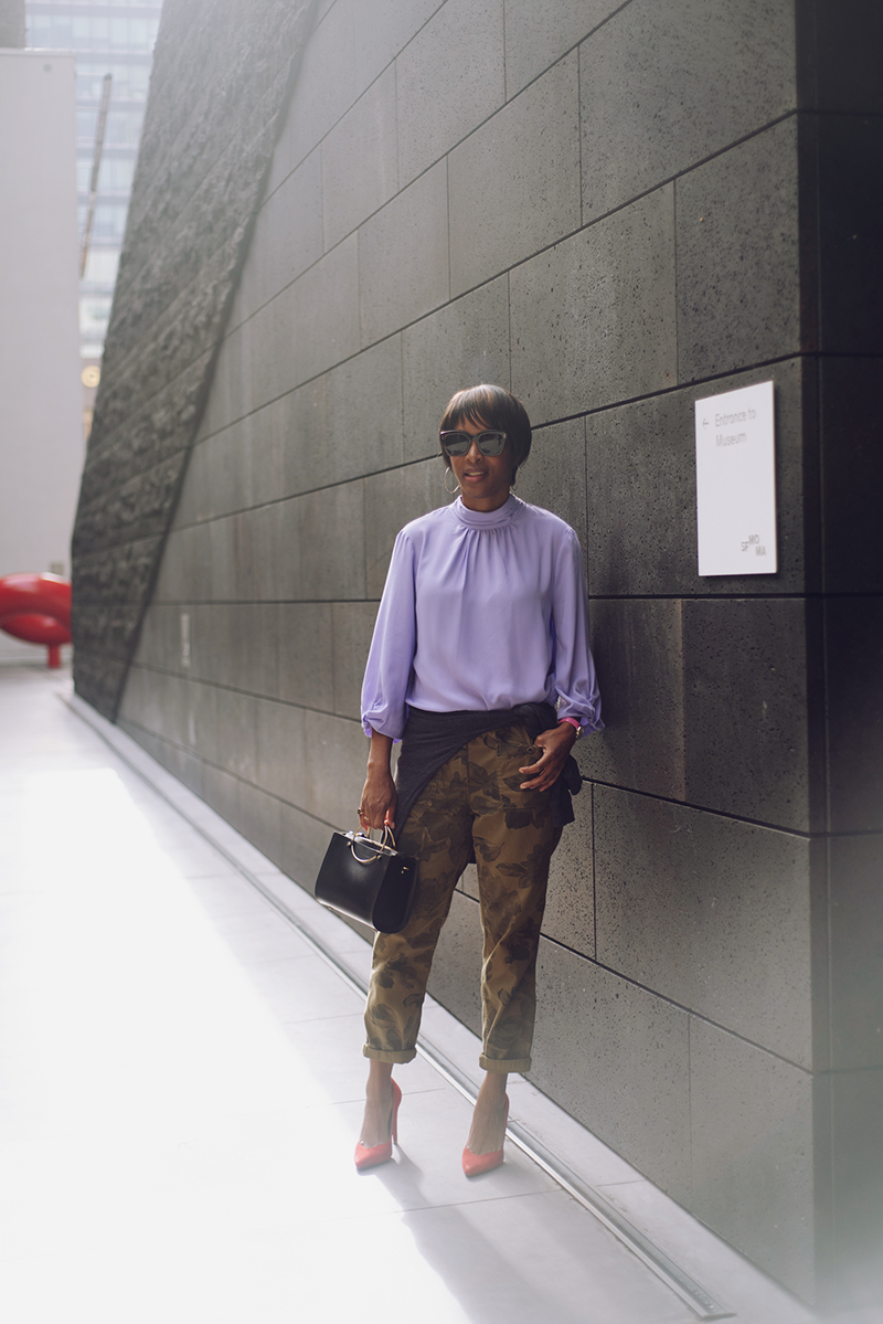 lilac prologue for target mock neck top olive camo pants